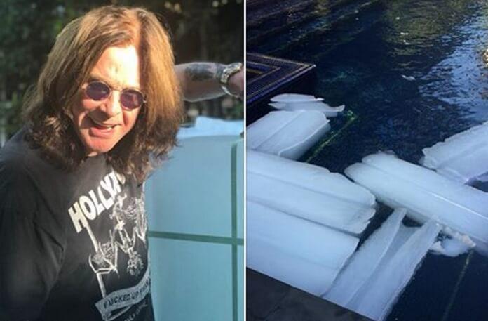 Ozzy Osbourne coloca gelo em sua piscina