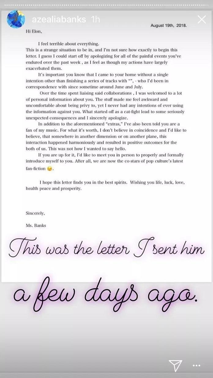 Carta de Azealia Banks para Elon Musk