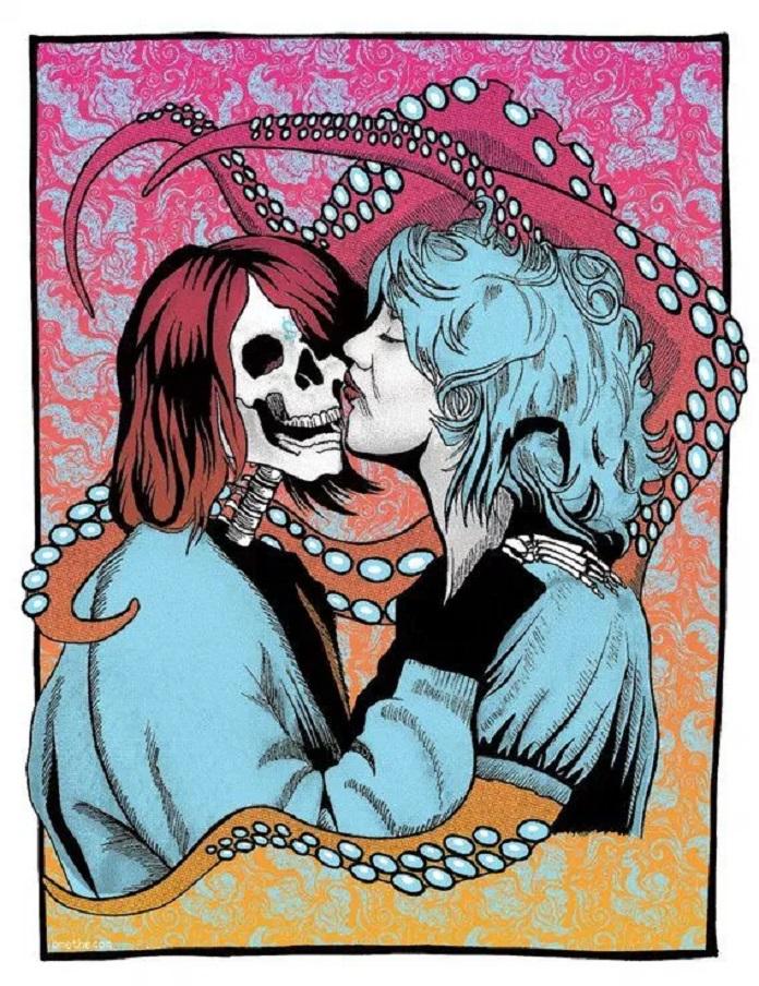 Kurt Cobain (Nirvana) e Courtney Love (Hole) no pôster do Melvins arte original