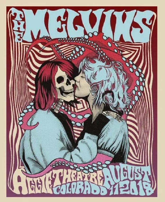 Kurt Cobain (Nirvana) e Courtney Love (Hole) no pôster do Melvins
