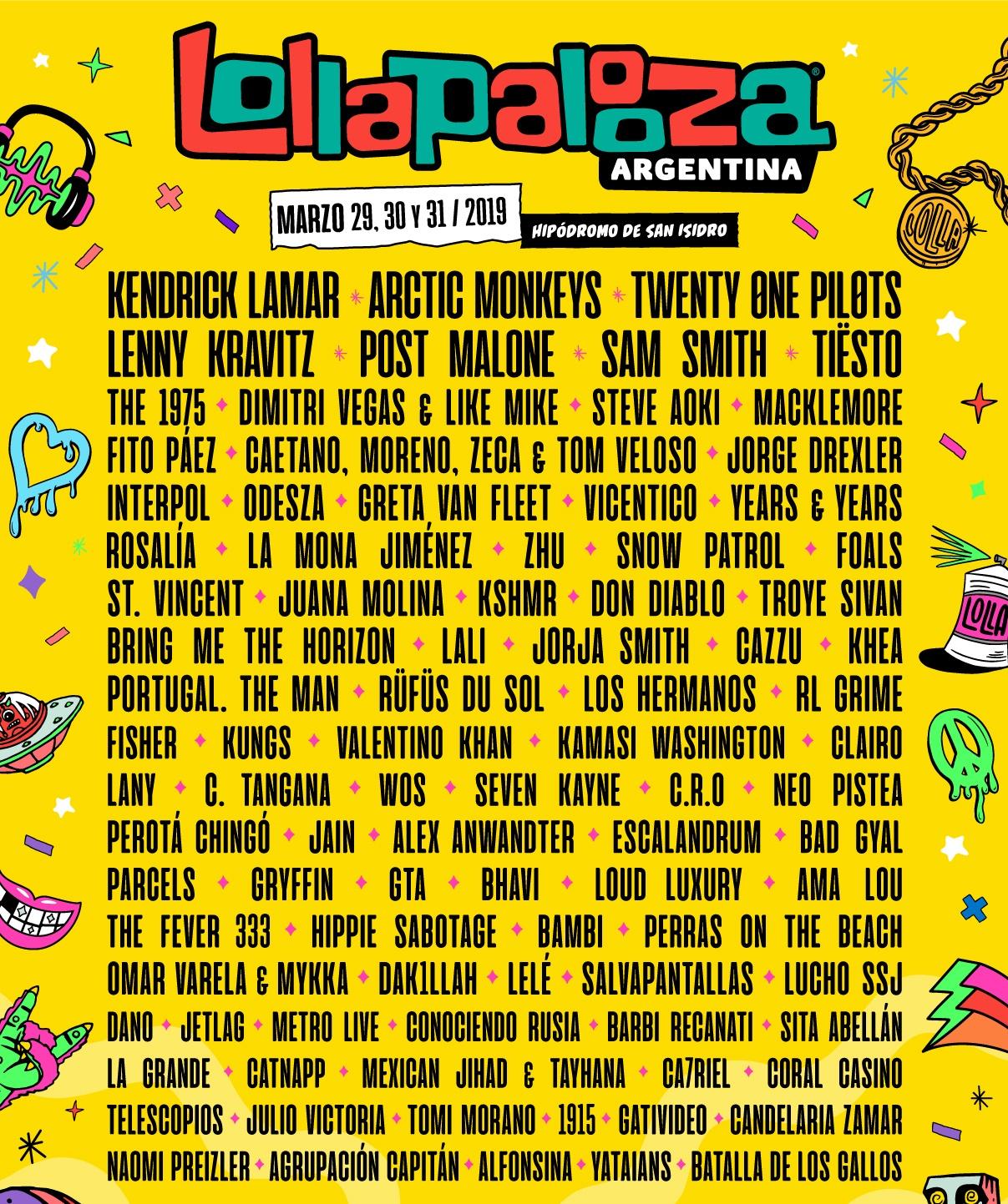 Cartaz do Lollapalooza Argentina 2019