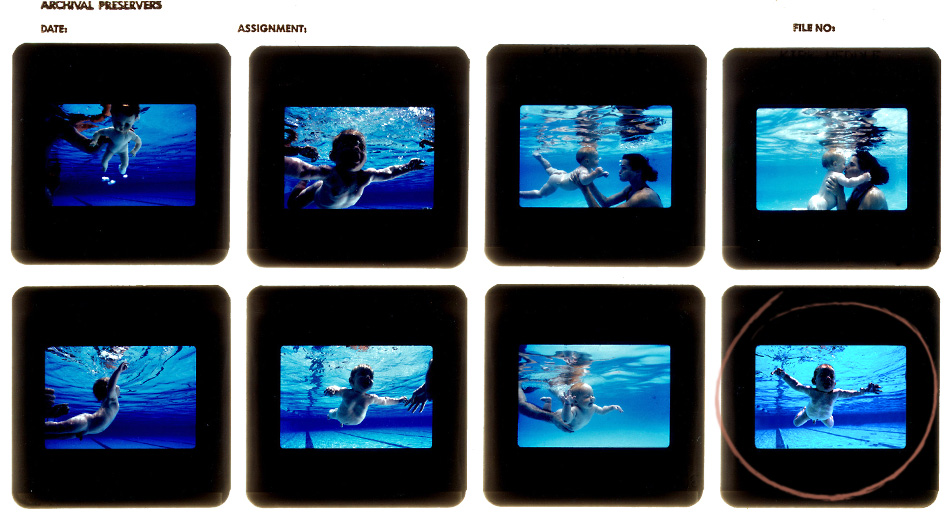 Fotos de teste da capa de Nevermind, do Nirvana