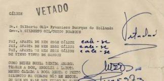 "Documento que mostra a censura de ""Cálice"", de Gilberto Gil e Chico Buarque"