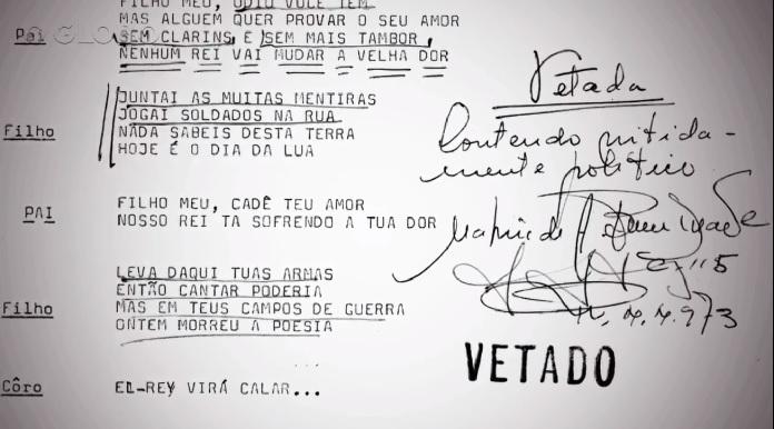 """Letra censurada de """"Hoje É Dia de El-Rey"""" (Milton Nascimento)"""