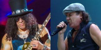 Slash (Guns N' Roses) e Brian Johnson (AC_DC)
