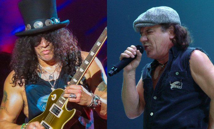 Slash (Guns N' Roses) e Brian Johnson (AC_DC)