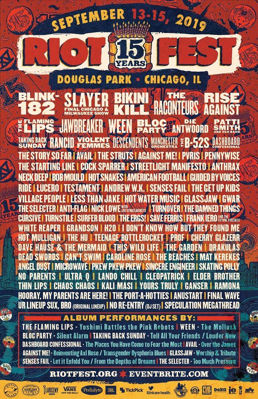 Riot Fest 2019 Pôster