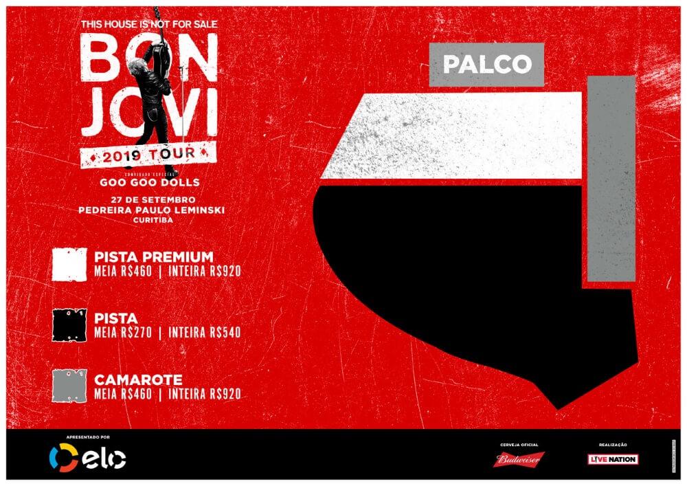 Mapa de assentos do Bon Jovi em Curitiba 2019