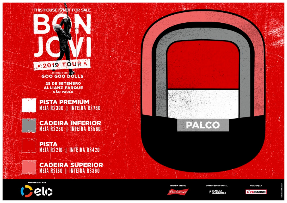 Mapa de assentos: Bon Jovi em São Paulo 2019