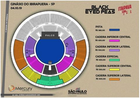 Mapa de assentos do Black Eyed Peas no Ginásio do Ibirapuera