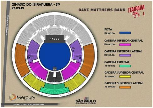 Mapa de assentos do Dave Matthews Band no Ginásio do Ibirapuera