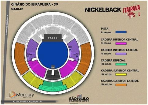 Mapa de assentos do Nickelback no Ginásio do Ibirapuera