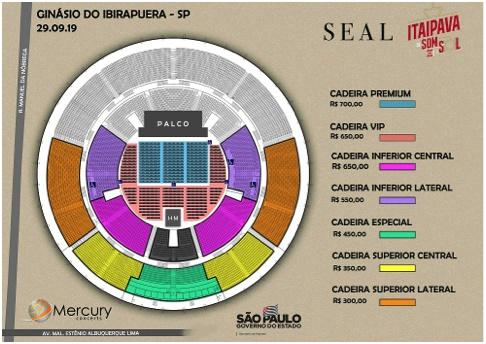 Mapa de assentos do Seal no Ginásio do Ibirapuera