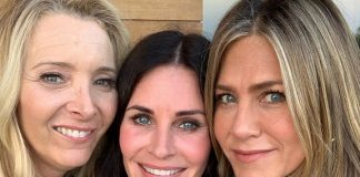 Friends Lisa Kudrown, Courteney Cox e Jennifer Aniston