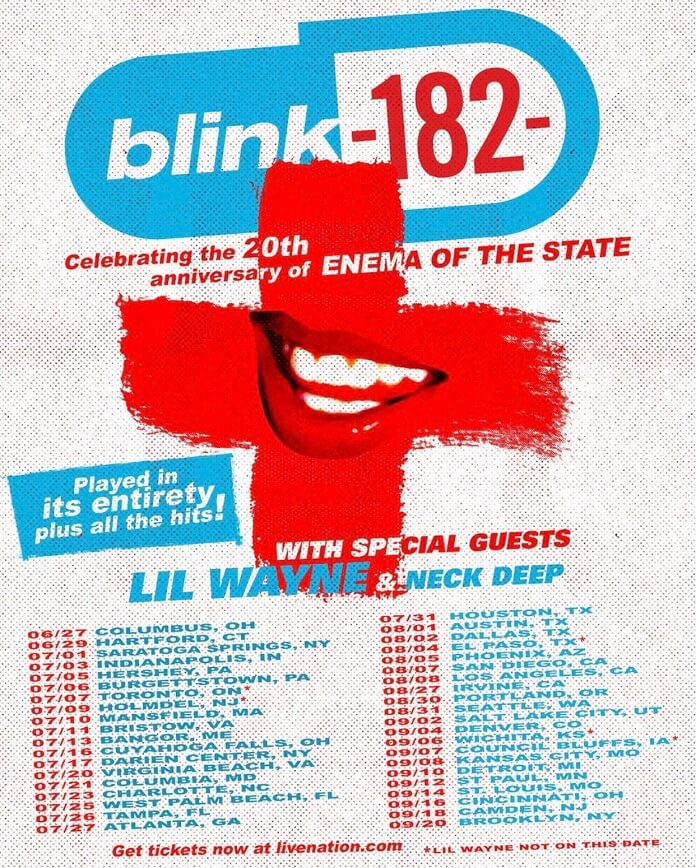 blink-182 turne Enema of the State 20 anos poster