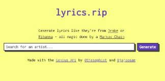 Lyrics.rip - site que faz letras falsas