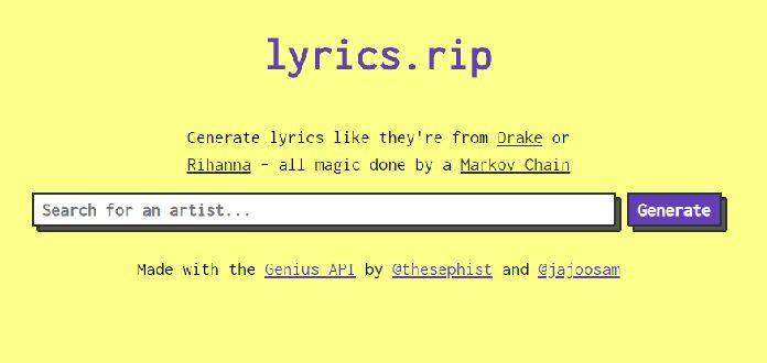 Lyrics.rip - site que faz letras falsas