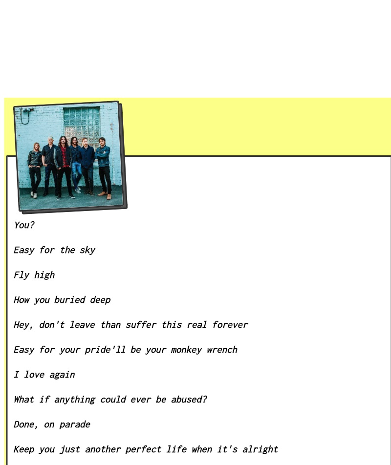 Letra falsa de uma música do Foo Fighters, do Lyrics.rip