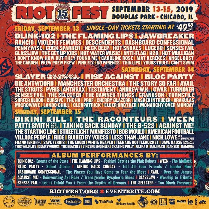 Riot Fest 2019 por dia