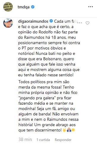 Digão comenta declaração de Rodolfo Abrantes