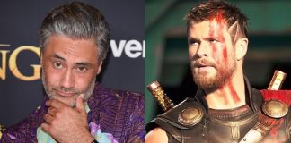 Taika Waititi e Chris Hemsworth em Thor Ragnarok