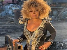 Elza Soares com roupa de alfinetes
