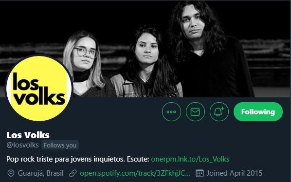 Twitter da banda Los Volks