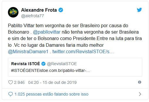Alexandre Frota elogia Pabllo Vittar