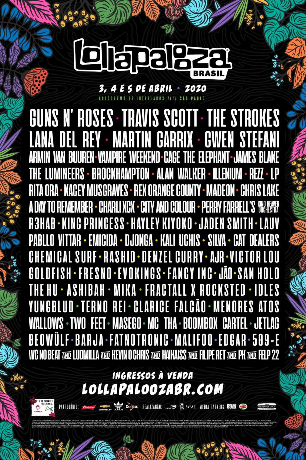 Lollapalooza Brasil 2020 - Line-up
