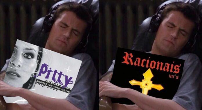 Chandler segurando discos de Pitty e Racionais