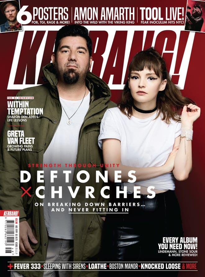 Capa da Kerrang! com Chino Moreno (Deftones) e Lauren Mayberry (CHVRCHES)