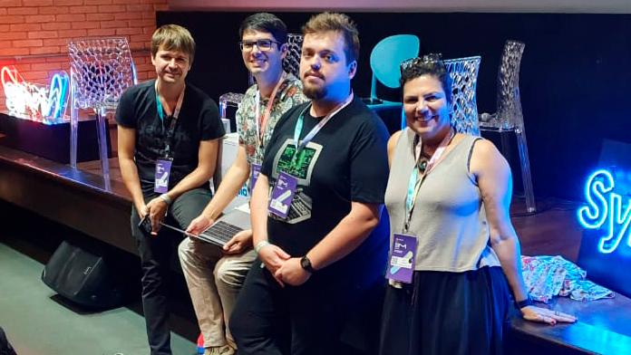 Time titular do FF Podcast na SIM São Paulo: U.Got, Fabio Silveira, Bruno Costa e Guta Braga
