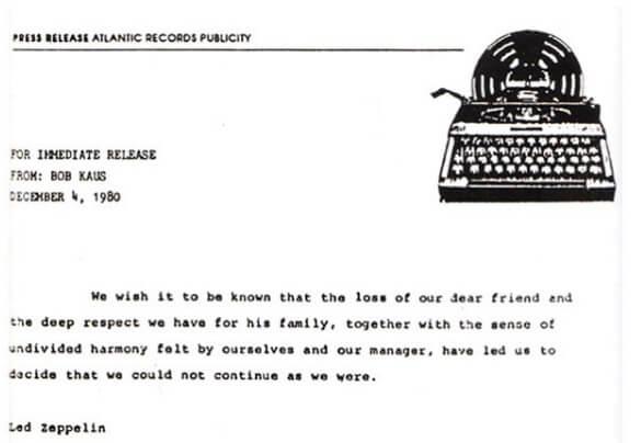 Carta do Led Zeppelin à imprensa