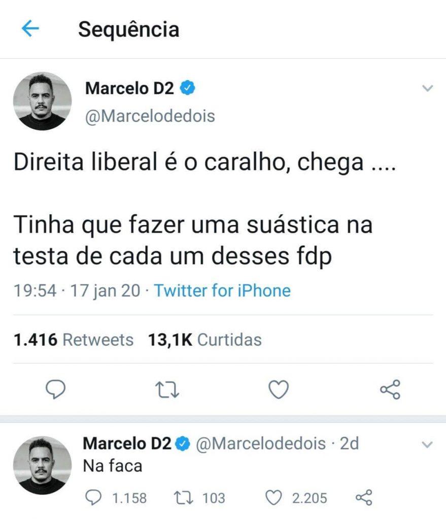 Marcelo D2, Tweets sobre a suástica