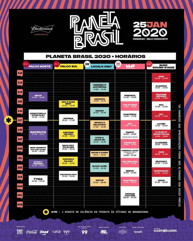 Planeta Brasil 2020, horários