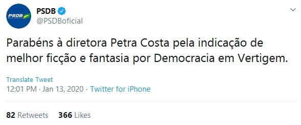 PSDB critica Democracia em Vertigem