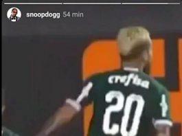 Snoop Dogg vendo jogo do Palmeiras
