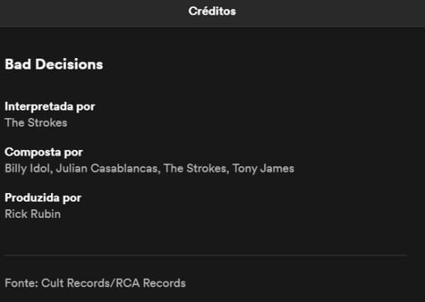 Créditos de Bad Decisions, The Strokes e Billy Idol