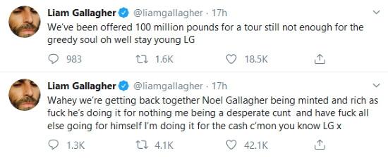 Tweets de Liam Gallagher