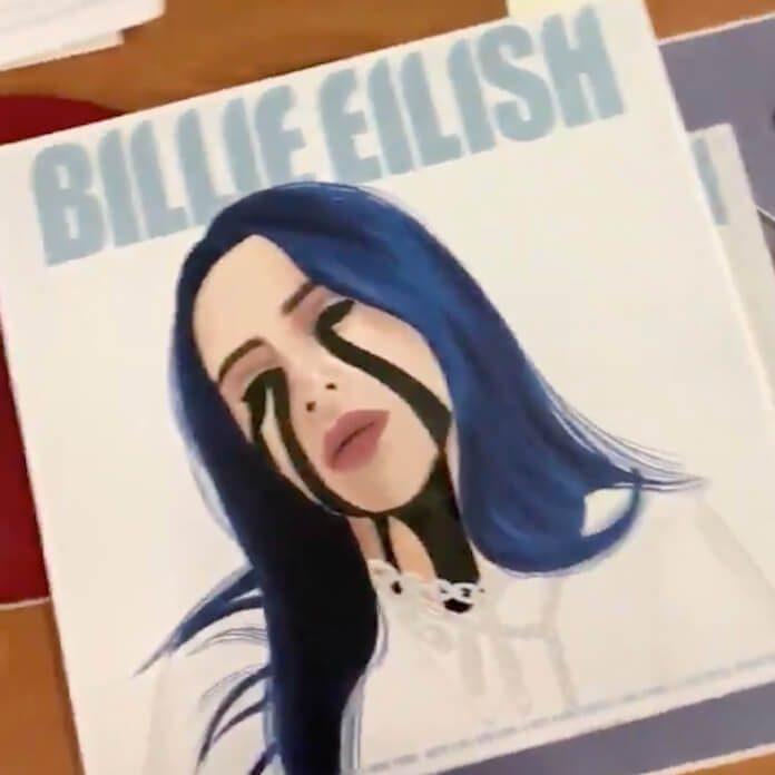 Billie Eilish e a capa de vinil feita por fã