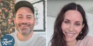 Courteney Cox com Jimmy Kimmel
