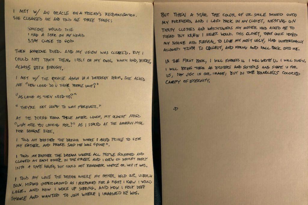 Carta de Donald Glover (Childish Gambino)