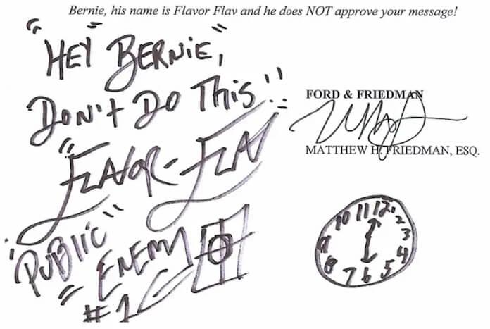 Flavor Flav e carta para Bernie Sanders