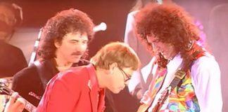 Queen, Elton John e Tony Iommi em 1992