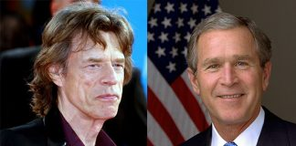 Mick Jagger e George W. Bush