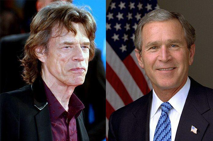 Mick Jagger e George W. Bush