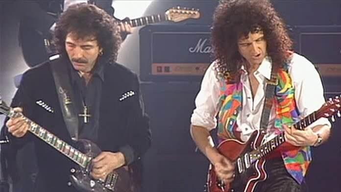 Queen com Tony Iommi e Roger Daltrey