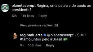 Regina Duarte declara apoio a Bolsonaro