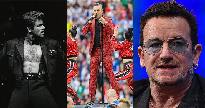 Robbie Williams, George Michael e Bono (U2)