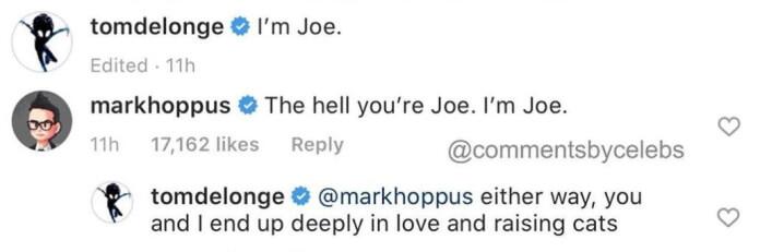 Tom DeLonge e Mark Hoppus em comentário